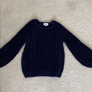 Adorable chenille navy blue sweater